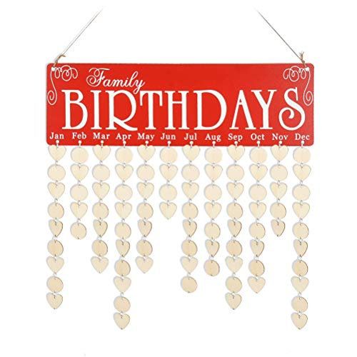 Family Birthday Reminder Calendar Board, Wooden Birthday Board Calendar Sign Plaque Anniversary Plaque Wall Hanging DIY Signs with Round and Heart Wooden Discs Tags for Gifts or Home Decoration