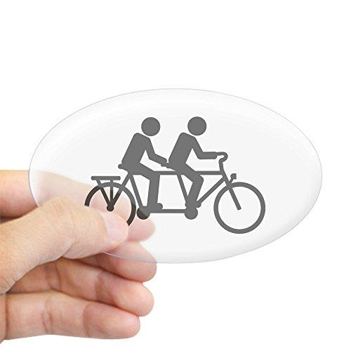 CafePress Tandem Bicycle Bike Oval Bumper Sticker, Euro Oval Car Decal