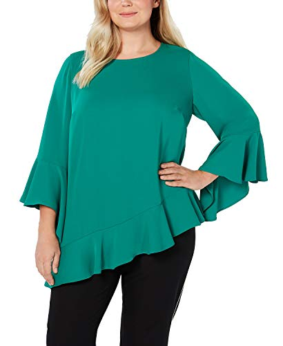 Alfani Womens Plus Solid Flare Sleeves Blouse Green 1X