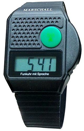 Digitale Funk Armbanduhr mit Sprachausgabe , sprechende Blindenuhr , Uhr schwarz mit Ansage von Uhrzeit und Datum