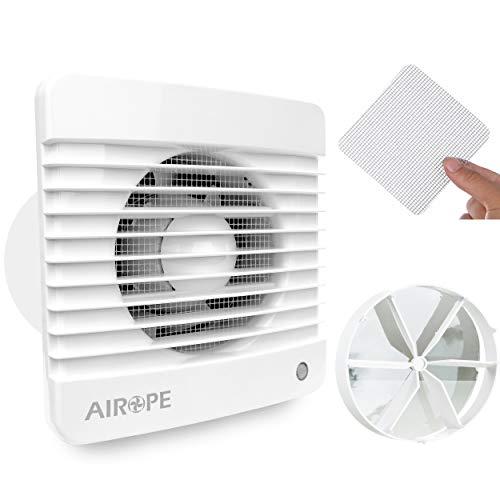 Airope,Ventilador extractor de baño aire 125 mm Silencioso con válvula Anti retorno + mosquitera integrada,9.1 W,Ideal para baño,cocina,inodoro,silencioso,alta calidad,bajo consumo