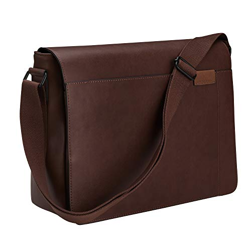 Gallaway Leather Messenger Bag - Shoulder Satchel Travel Briefcase Fits 13 15 or 17 Inch Laptop - Modern Urban Design Perfect For Ambitious Men - Strong Rich Brown