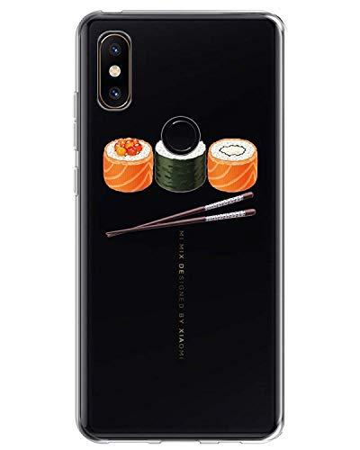 Cover Xiaomi Mi Mix 2s Trasparente, Mi Mix 2s Case Silicone Ultra Slim Custodia in Silicone Antiurto No-Slip Anti-Graffio Morbido Animale Design Carino Disegno per Xiaomi Mi Mix 2s (Sushi)