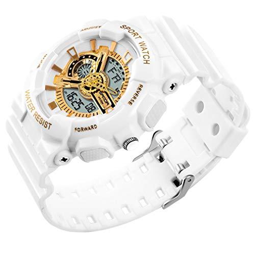 Relojes de Choque Militares Deportivos Impermeables multifunción LED Digitales para hombreBlanco y dorado299