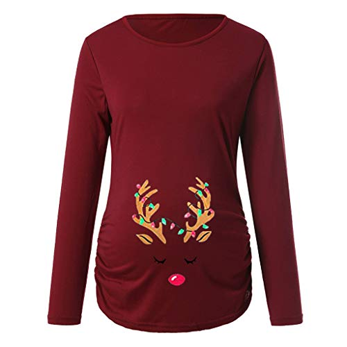 XXYsm Women's Print Christmas Blouse Side Ruched Top Long Sleeve Maternity Top Pregnancy Clothes O-Neck Jumper Tunic Top Xmas Tops Clothing S-XXL Red