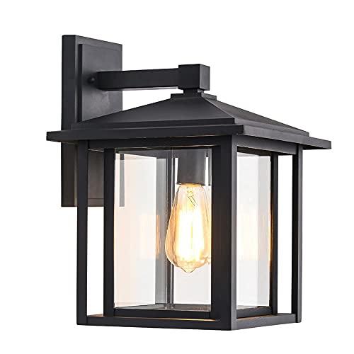 Wonderlamp - Aplique de pared exterior Avenida, 1xE27, Máx. 60 W, IP 23, Aplique Vintage, forma de Farol con cristal, Negro