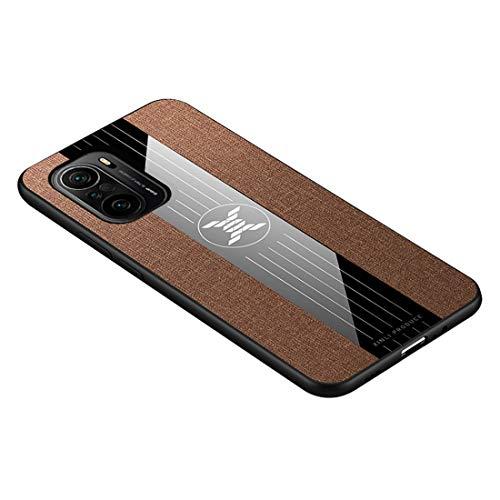 GOGME Funda para Xiaomi Poco F3 / Mi 11i 5G Funda, [Estilismo de Tela de Lona Tejida] Carcasa con Marco de Silicona Suave TPU + PC Back Protección contra Caídas Case Cover. Marrón