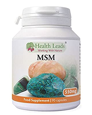 MSM (methylsulphonylmethane) 550mg x 90 capsules (100% Additive Free Supplements) by Health Leads UK