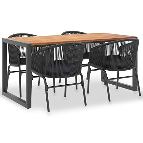 vidaXL Acacia Wood Solid Garden Furniture 5-Piece Garden Furniture Set Dining Table Chairs PVC Rattan