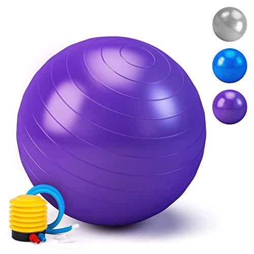 HebyTinco Pelota de Gimnasia, Pelota de Yoga, para el hogar, para el Embarazo, Pilates, Yoga, para Ejercicios Abdominales y Ejercicios básicos de rehabilitación de Hombros (púrpura)