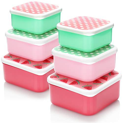com-four Juego de frascos para almacenar Alimentos de 6 Piezas con Tapa, frascos pequeños para congelador - Cajas de fiambres - 500 ml, 350 ml y 220 ml (6 Piezas - melón - Rojo Verde)