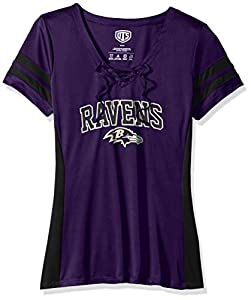 OTS NFL Baltimore Ravens Women's Poly Lace Up V-Neck Tee, Weber, Medium
