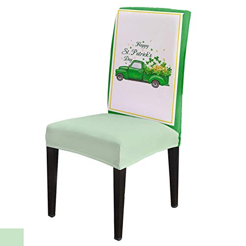 Dining Chair Covers, Stretch Protectors Slipcovers Watercolor Green Truck with Celtic Clovers Removable Washable Seat Cover for Home Living/Dining Room Party Hotel St. Patrick's Day