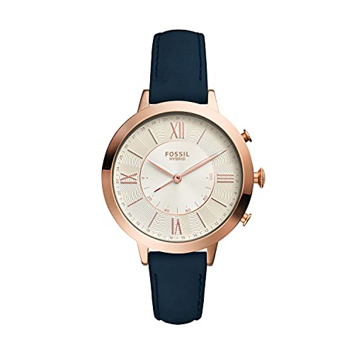 Fossil Women's 36mm Jacqueline Stainless Steel and Leather Hybrid Smart Watch, Color: Rose Gold, Blue (Model: FTW5014)