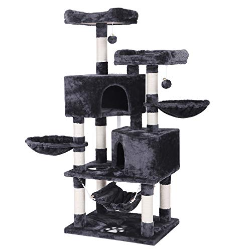 BEWISHOME MultiLevel Cat Tree Condo with Sisal Scratching Posts Perches Houses Hammock and Baskets Cat Tower Furniture Kitty Activity Center Kitten Play House Grey MMJ05B