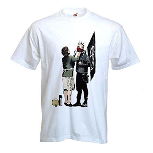 Banksy Punk mamá Camiseta de Manga Corta para Hombre (Tallas S a XXXL) Blanco...