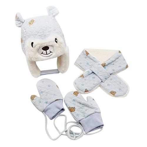 Allence 3pcs Baby Mütze Beanie Earflaps Wintermütze Baby Jungen Mädchen Winter Warm mütze Cap (mütze +Handschuh +Schal) 1-6 Jahre