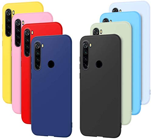 8X Funda para Xiaomi Redmi Note 8, Silicona Suave TPU Gel Carcasa para Redmi Note 8, Rosyheart Delgado Flexible Anti-Rasguño Anti-Golpes Ligera Protectora Case Color Puro Trasera Bumper - 8 Color