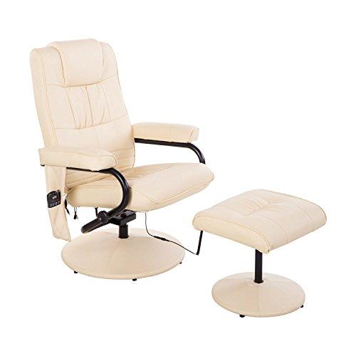 HOMCOM Kunstleder Massagesessel TV Sessel mit Wärmefunktion Fernsehsessel Relaxsessel inkl. Hocker Creme