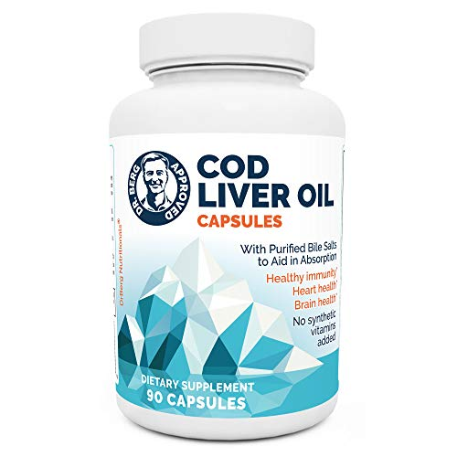 Dr. Berg's Cod Liver Oil - Source of Omega 3 Fatty Acids Vitamins A & D Promoting DHA & EPA - Support Heart, Brain, Eye, Skin & Immune Health - Natural Fish Oils Supplements - 90 Capsules
