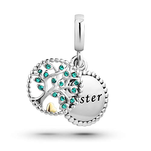 KunBead Big Sis Lil Sis Sister Charm for Bracelets Dangle Green Crystal Family Tree Gold Heart Charm Birthday Beads Gifts