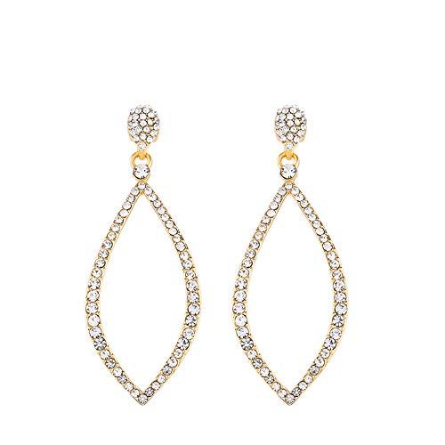 Ningz0l Oorbellen voor dames, oorsieraden, mode temperament Versatile eenvoudige volledige diamant kristallen geometrie oorbellen vrouwelijk goud