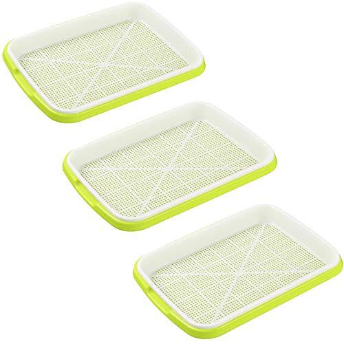 Fore 3 Stück Seed Sprouter Tray, Samen Sprouter Tablett, BPA-frei, Bodenloses Anbau-Tablett für Weizensämlinge, für Garten, Büro, Haus, Restaurant