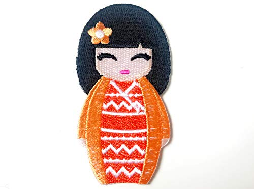 Orange Color Japanese Kokeshi Doll Japan Vintage Cute Girl Jacket T-Shirt Sew Iron on Embroidered Applique Badge Sign Patch