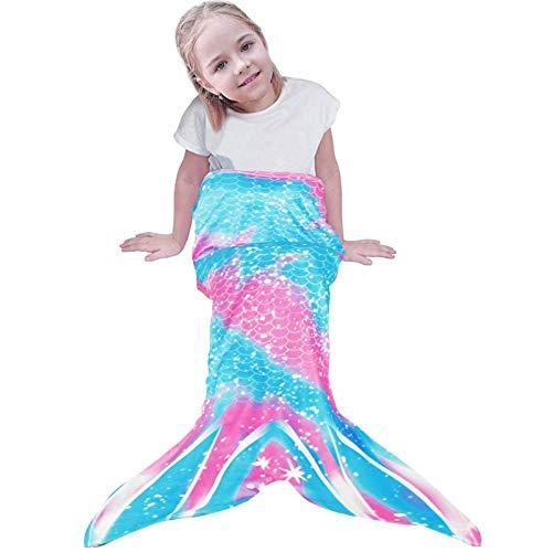 Meerjungfrau Decke, Mädchen Flosse Kuscheldecke, Meerjungfrau Decke für Kinder, Glitzernde Fischschwanz Flanell Fleece alle Jahreszeiten Schlafsack,Geschenk für mädchen, 130cm X 48cm