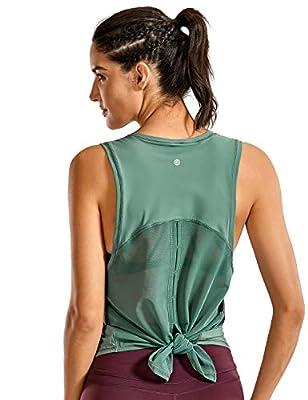 CRZ YOGA Women's Breezy Feeling Mesh Running Tank Tops Workout Gym Shirts Tie Back Yoga Clothes Juniper_r752 Medium