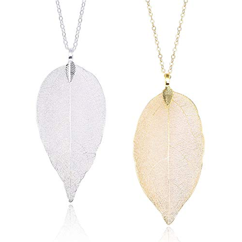 Gold and Silver Long Leaf Pendant Necklaces Real Natural Filigree Fashion Jewelry for Women Girls