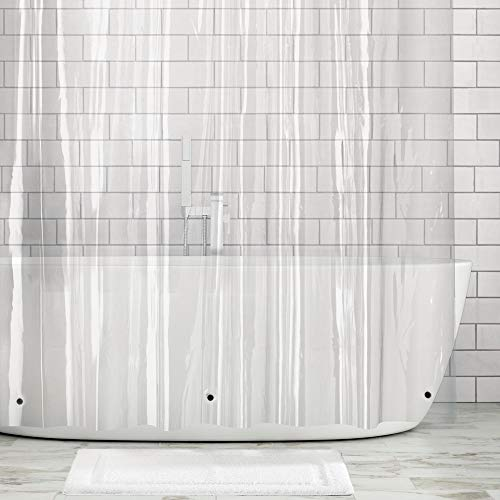 mDesign Extra Long Waterproof, Mold/Mildew Resistant, Heavy Duty Premium Quality 10-Guage Vinyl Shower Curtain Liner for Bathroom Shower Stall and Bathtub - 72' x 96' - Clear