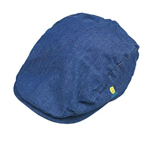 Boy's Driver Cap Scally-Boy-Newsboy Baby Kids Flat Cap Christening Hat (Denim Blue,49CM/19.3in(fit for2-4Years))