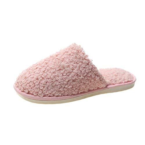 N/W Sandalias de Verano para Mujer, Zapatillas de Navidad Baotou, Zapatillas de Piel de otoño e Invierno para Mujer-Pink_39