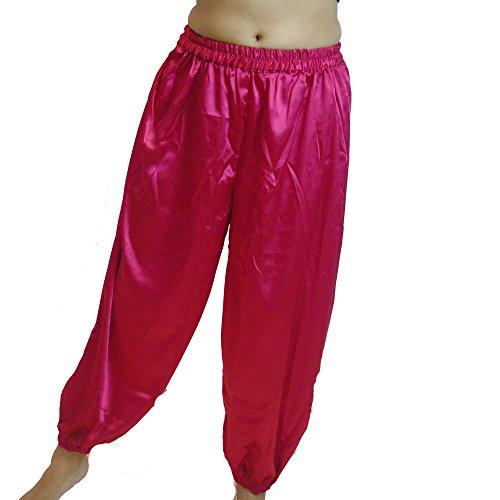 Bauchtanz Haremshose für Tanzen Stammestänzer Kostüm Yoga M L, Redy Pink
