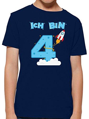 Shirtracer Ich bin Schon 4 Geburtstag Rakete Jungen T-Shirt (Navy, 5-6 Jahre 110-116 cm)