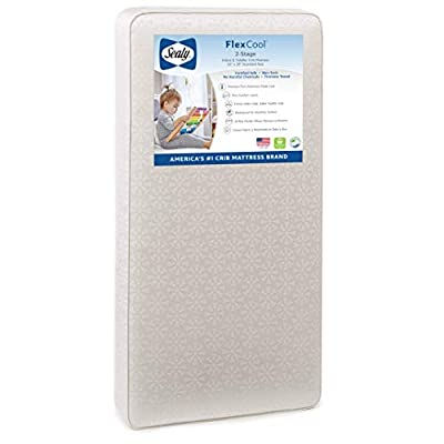 """Sealy Baby Flex Cool 2-Stage Airy Dual Firmness Waterproof Standard Toddler & Baby Crib Mattress, 51.7""""x 27.3"""""""
