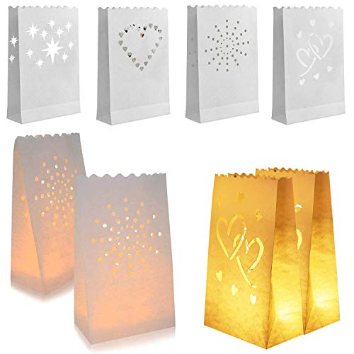 Lichttüten Candle Bags Lichtertüten 20Stk Papier Leuchttüten für Party, Konzert in DerKirche,Urlaubs und Hochzeitsdekorationen mit Teelicht Kerze
