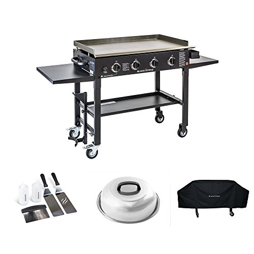 Blackstone 36 inch Outdoor Flat Top Gas Grill Griddle Station Starter Bundle with 4-burner Grill, Cover, Accessory Kit and Melting Dome Grills Propane