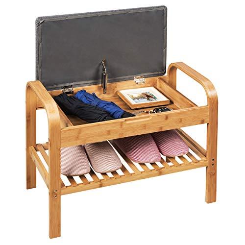COSTWAY Zapatero Banco de Bambú con Asiento Acolchado Estante para Zapatos Banco Tapizado para Dormitorio Sala de Estar Pasillo (60 x 50 x 34cm)