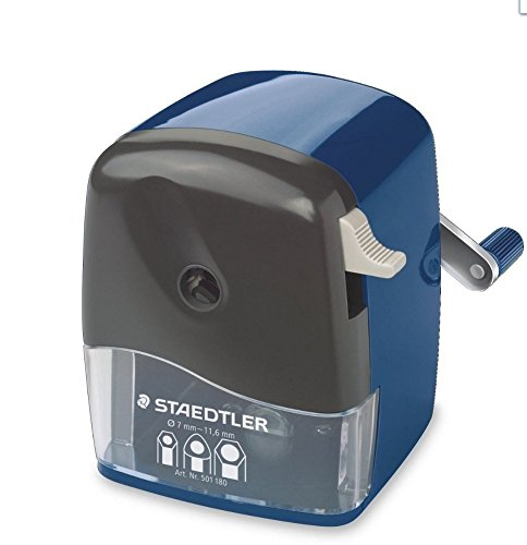 STAEDTLER Mars 501 180 Rotary sharpener for Round, Triangular, Hexagonal prisma color, pencils, Classic Manual Pencil Sharpener, Desk clamp