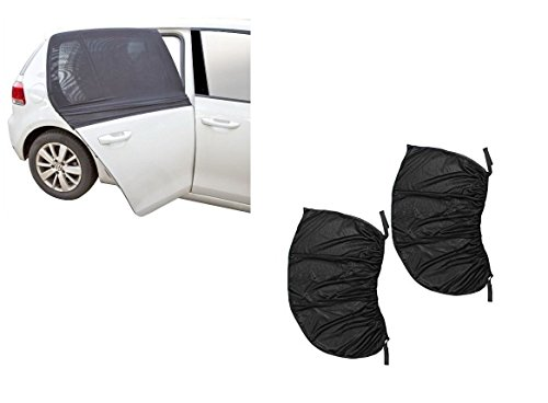 Pair of Car Window Shade for Sun UV Baby Insects Protection Universal Fit Adjustable Sun Shade Breathable Mesh Car Curtains Anti Mosquito Bug Window Net Car Rear Door Outdoor Camping Netting (XL)