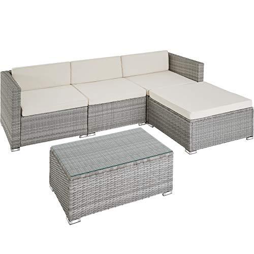 TecTake 800822 Polyrattan Sitzgruppe, 3 Sessel, 1 Hocker, 1 Tisch mit Glasplatte, inkl. Sitz- und Rückenkissen, mit rostfreien Edelstahlschrauben - Diverse Farben - (Hellgrau)