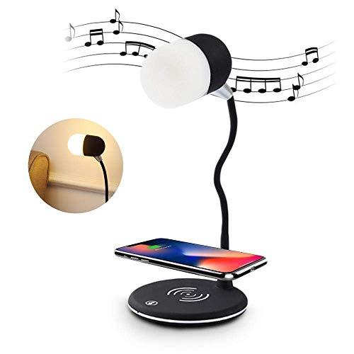 OWEM LED-Schreibtischlampe mit Kabellosem Ladegerät und Bluetooth-Lautsprecher, Nachttischlampe mit 3 Farbmodi, Touch-Steuerung, Schnellladung Kompatibel mit iPhone, Samsung Galaxy und Mehr,Schwarz