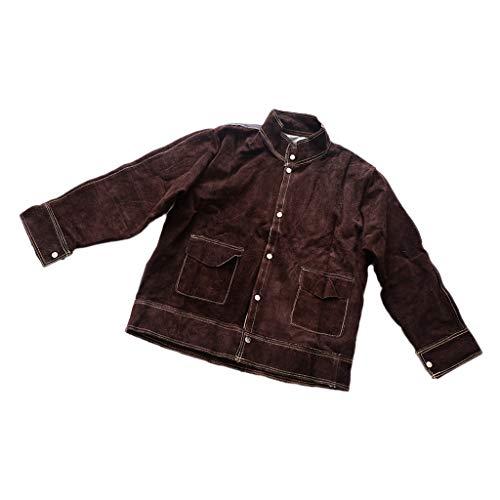 Bonarty Abbigliamento di Sicurezza per Saldatura Saldatore in Pelle di Vacchetta Ignifuga Abbigliamento Protettivo Saldatore Anti-scottatura Salopette Abbigli - Camicia Marrone XXL