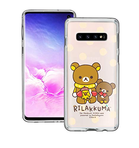 Compatible with Galaxy S10 Case (6.1inch) Rilakkuma Clear TPU Cute Soft Jelly Cover - Chairoikoguma Sit