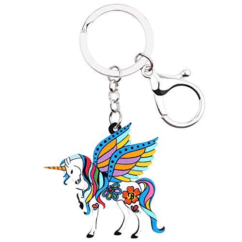 WEVENI Acrylic Floral Fantasy Unicorn Horse Key Chain Rings Fashion Animal Jewelry for Women Girls Handbag Charm Gifts (Blue)
