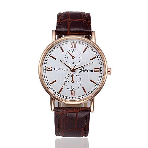 ZRSJ Männer lässig empfindliche Coole Armbanduhren Retro Designuhr Männer Alloy Leder einfache Quarz analoge Uhren(braun)