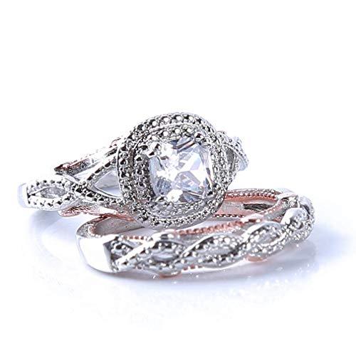 Pulabo Juego de anillos de compromiso de princesa con diamantes para mujeres y niñas, 6 unidades de calidad superior y creativa.