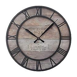 Mltdh Wrought Iron Retro Clock,Creative Wall Clock,Roman Numerals,Silent Movement,Wall Decoration,Living Room Art Clock,Gray